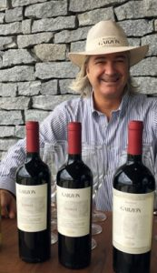 Christian Wylie of Bodega Garzon with his Tannat