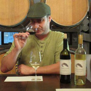 Winemaker Yannick Rousseau enjoying the Tannat aroma